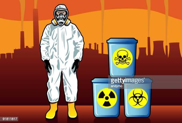 ilustrações, clipart, desenhos animados e ícones de os resíduos perigosos - vestuário de proteção