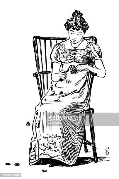 '彼は私を愛している、彼は私を愛してない' - リージェンシー時代女性の花から花びらを引いて - リージェンシー様式点のイラスト素材/クリップアート素材/マンガ素材/アイコン素材
