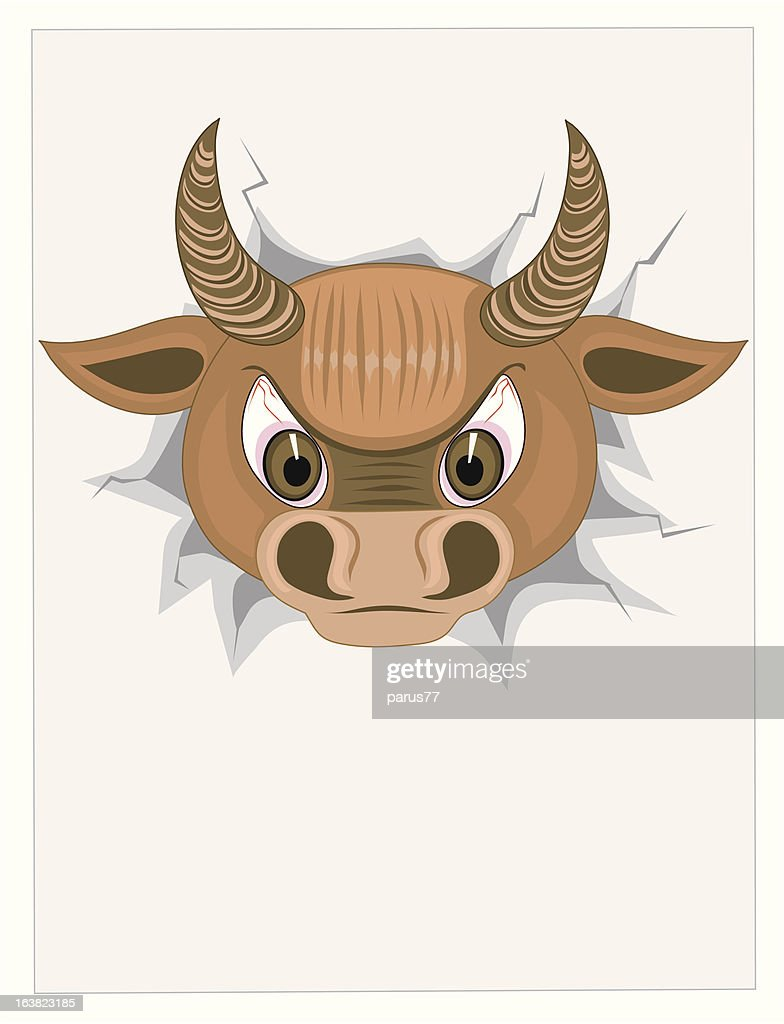 Head bull with blank paper