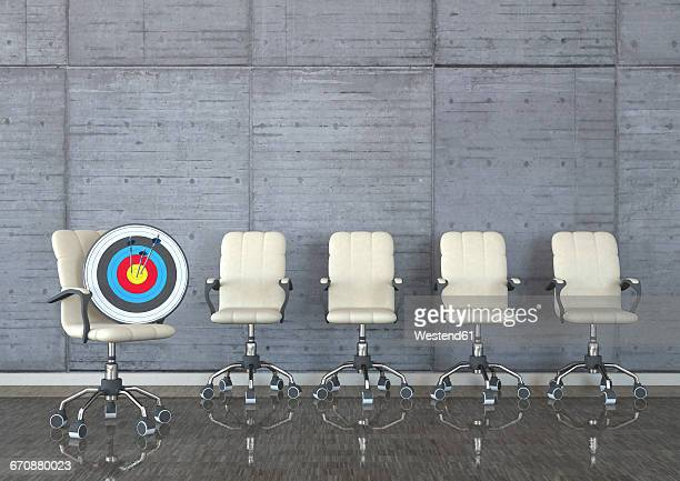 head hunter, swivel chairs with target and arrows in a room, 3d illustration - sports target stock illustrations