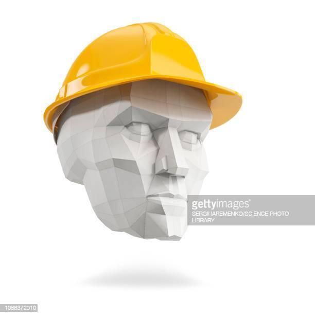 head in hard hat, illustration - work helmet stock illustrations
