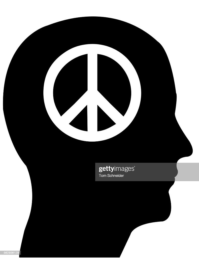 Head In Profile With A Peace Sign Illustration Stock Illustration