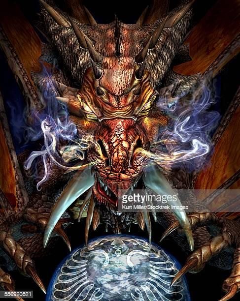 ilustraciones, imágenes clip art, dibujos animados e iconos de stock de head of a red dragon. - criptozoología