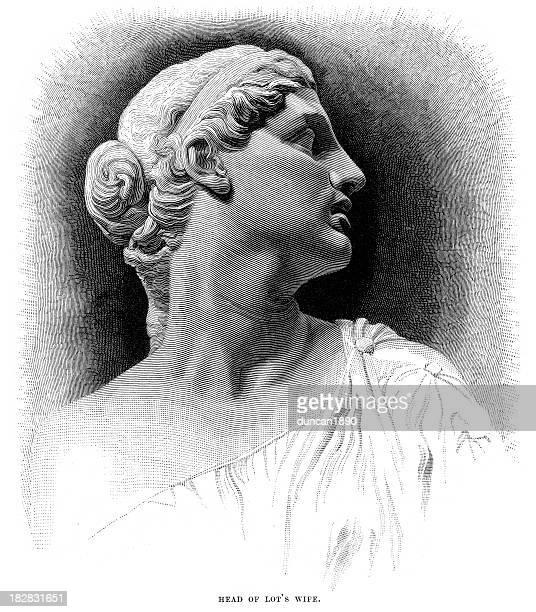head of lot's wife - female torso stock illustrations