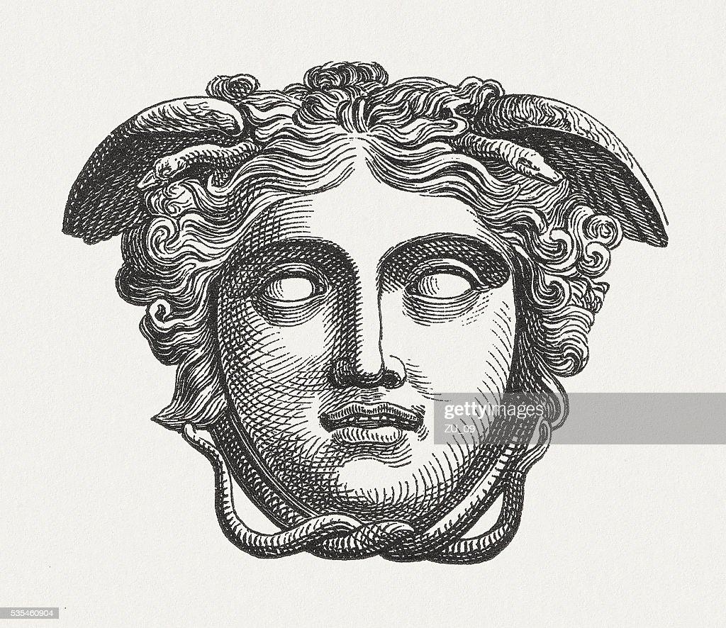 Head of Medusa, figure of the Greek mythology, published 1880 : stock illustration