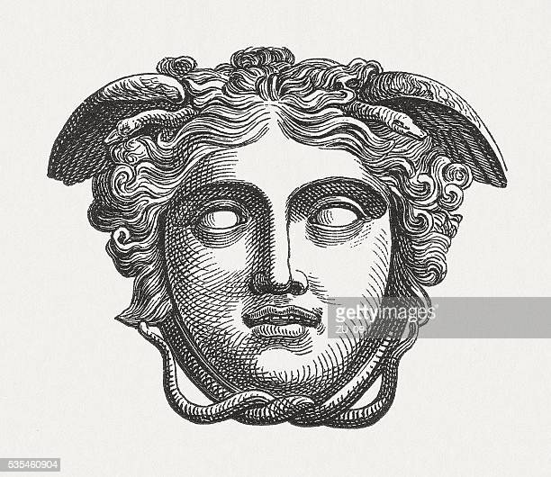head of medusa, figure of the greek mythology, published 1880 - greek mythology stock illustrations