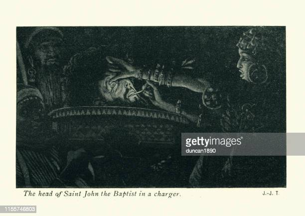 head of saint john the baptist in a charger - salome stock illustrations