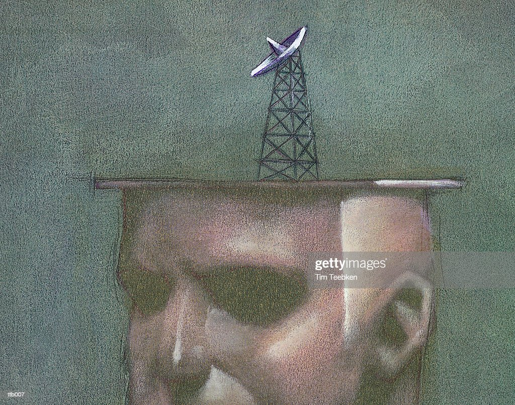 Head with Satellite Dish : Stock Illustration