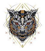 head wolf robotic illustration design for