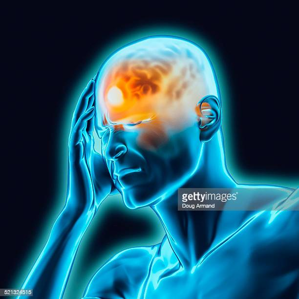 headache or pain in human male brain - {{asset.href}} stock illustrations