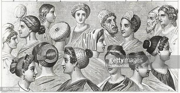 ilustraciones, imágenes clip art, dibujos animados e iconos de stock de tocados de la antigua roma - emperatriz