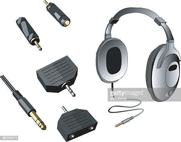 headphones and connectors (vector) - inch stock illustrations