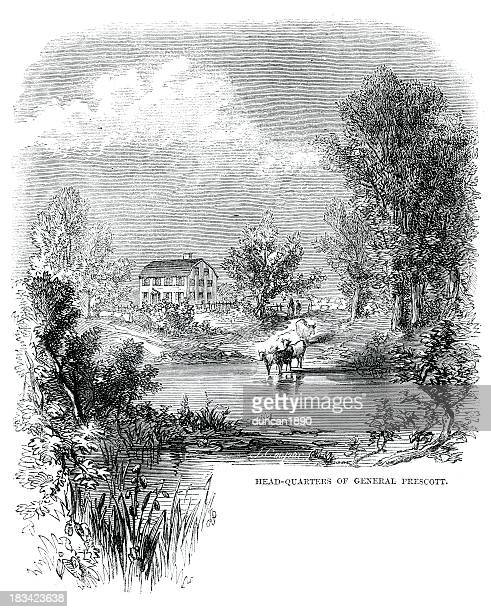 headquarters of general prescott - colonial style stock illustrations