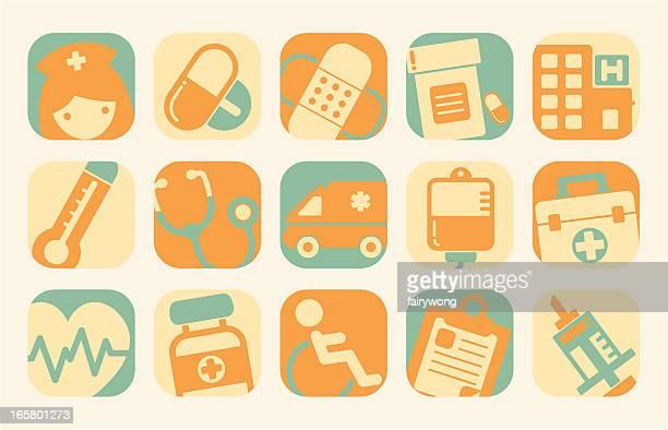 ilustraciones, imágenes clip art, dibujos animados e iconos de stock de asistencia sanitaria y medicina iconos - enfermera