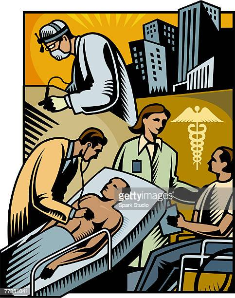 a healthcare montage composes of many different pictures - operating gown stock illustrations, clip art, cartoons, & icons