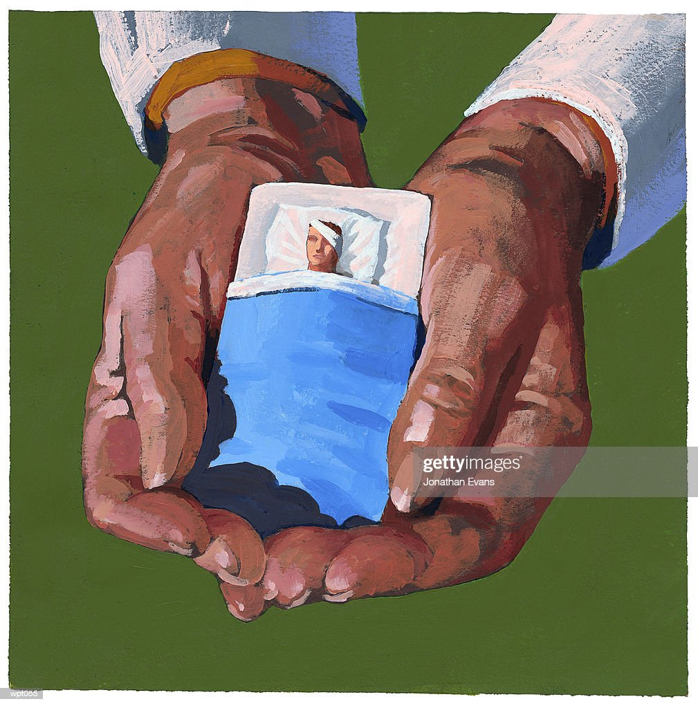 Healthcare Worker Cradling Patient : Stock Illustration