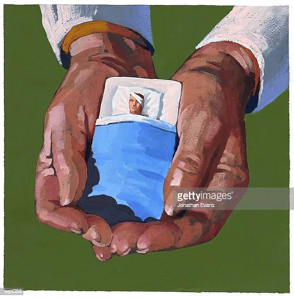 ilustraciones, imágenes clip art, dibujos animados e iconos de stock de healthcare worker cradling patient - enfermera