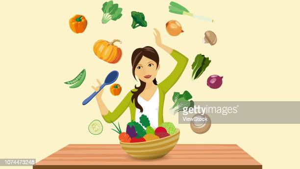 a healthy diet - bok choy stock illustrations, clip art, cartoons, & icons
