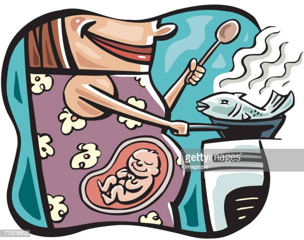 healthy eating while pregnant - animal fetus stock illustrations, clip art, cartoons, & icons