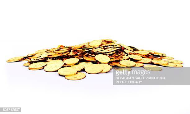 Heap of golden coins, Illustration