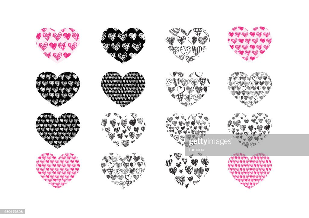 Heart Abstract Icons Signs And Symbols Set For Your Works Stock