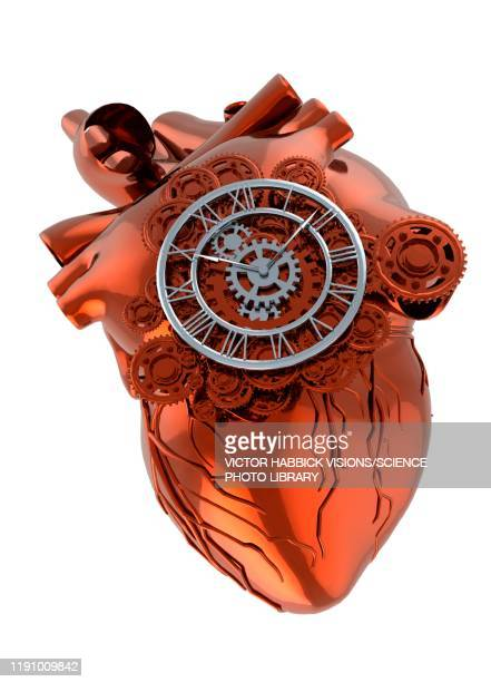 heart and cogs, illustration - time stock illustrations