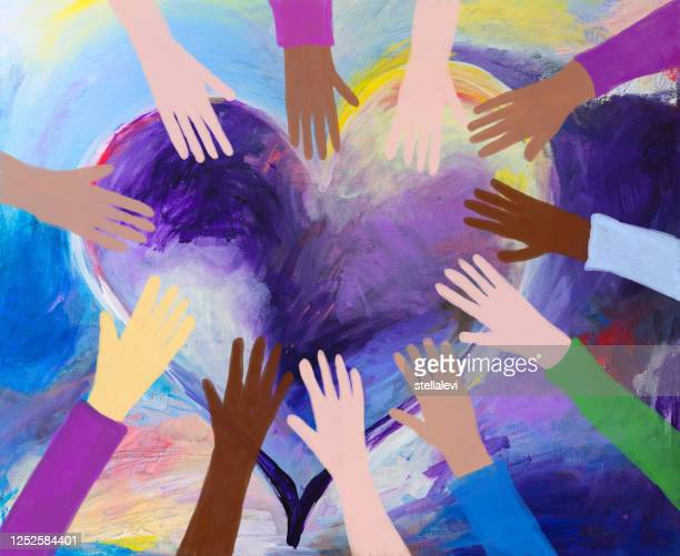 heart and hands painting - diversity stock illustrations