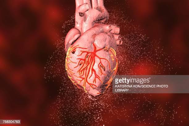 heart destruction, conceptual illustration - gangrene stock illustrations