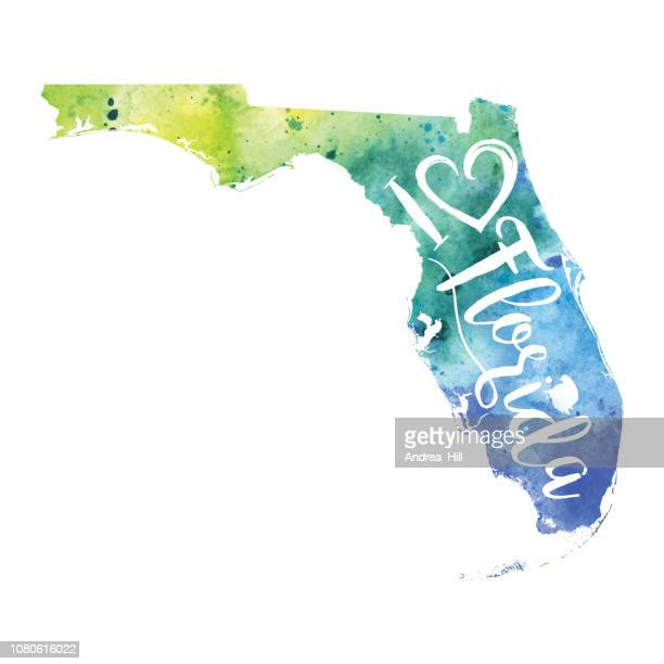I Heart Florida Watercolor Map Raster Illustration