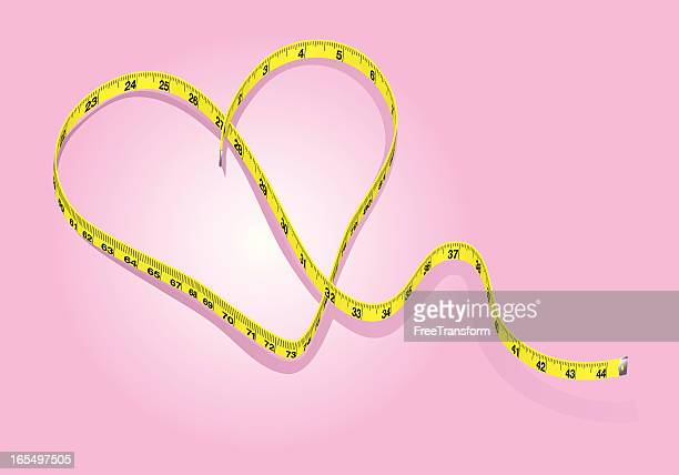 heart healthy dieting - tape measure stock illustrations, clip art, cartoons, & icons