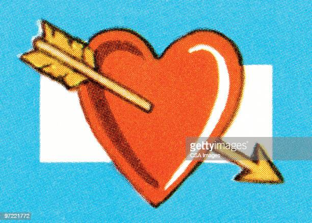 stockillustraties, clipart, cartoons en iconen met heart hit by cupid's arrow - cupidon