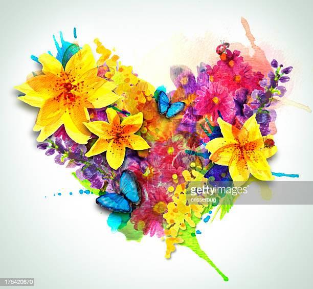 illustrations, cliparts, dessins animés et icônes de cœur de l'aquarelle de fleurs - coccinelle