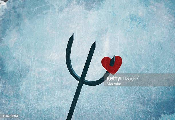 a heart on a pitchfork - 三叉槍点のイラスト素材/クリップアート素材/マンガ素材/アイコン素材