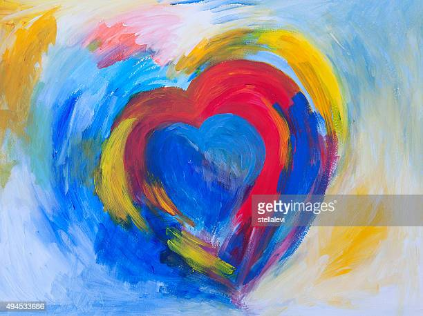 heart painting - passion stock illustrations