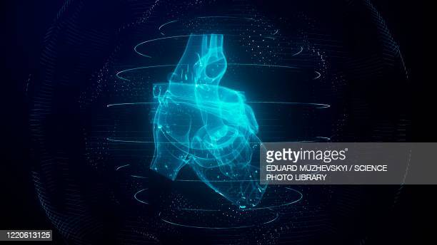heart scan, conceptual illustration - technology stock illustrations