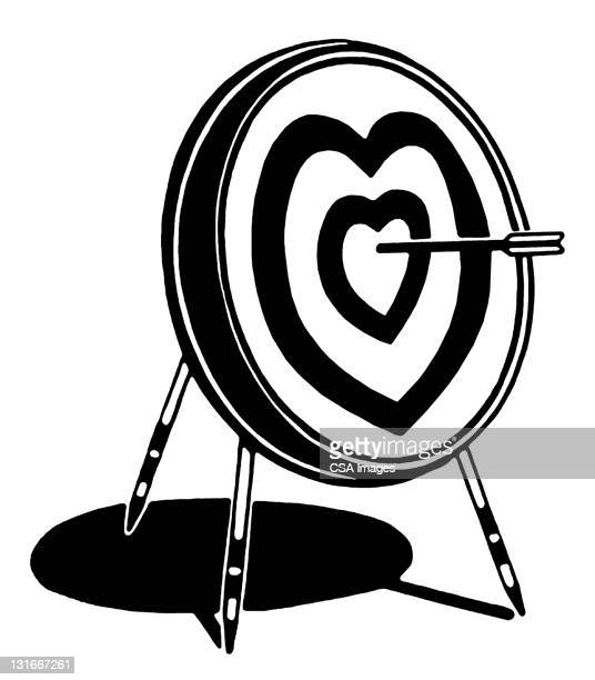 heart target with arrow - sports target stock illustrations
