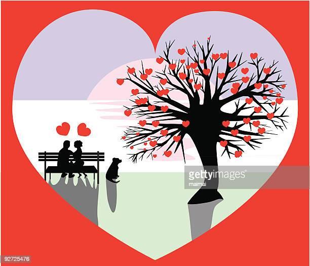 心臓の木が開花、カップル、ベンチヴァレンティーヌ - 異性のカップル点のイラスト素材/クリップアート素材/マンガ素材/アイコン素材