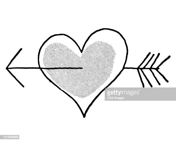 heart with an arrow through it - cupid stock illustrations
