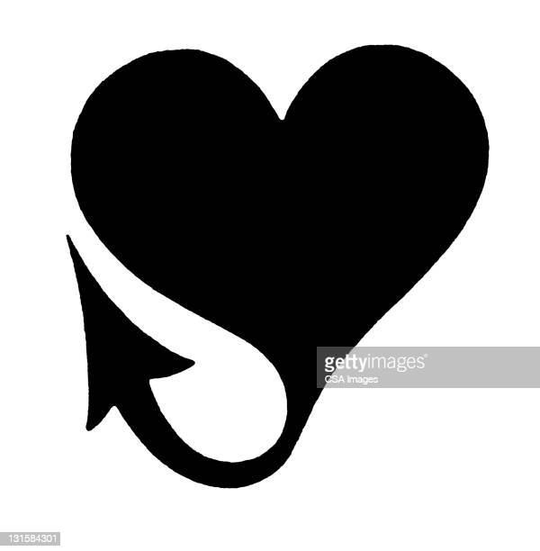 heart with devil tail - tail stock illustrations