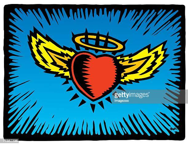 heart with halo and wings - animal limb stock illustrations, clip art, cartoons, & icons