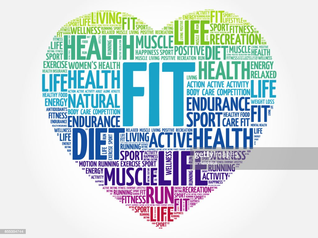 7bb62d67eaa56 Fit Heart Word Cloud Fitness Stock Illustration | Getty Images