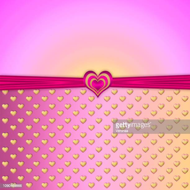 Hearts background with bow and ribbon.