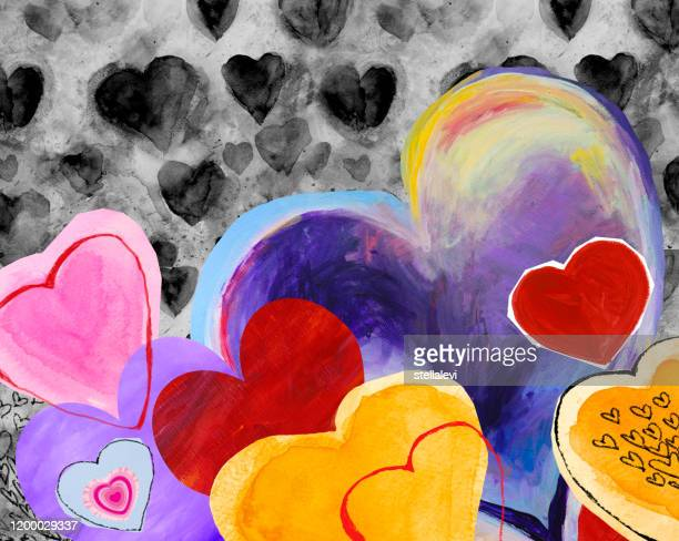 hearts collage - stellalevi stock illustrations