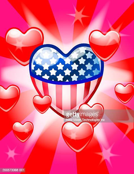 heart-shaped american flag surrounded by red hearts - obsessive stock illustrations, clip art, cartoons, & icons