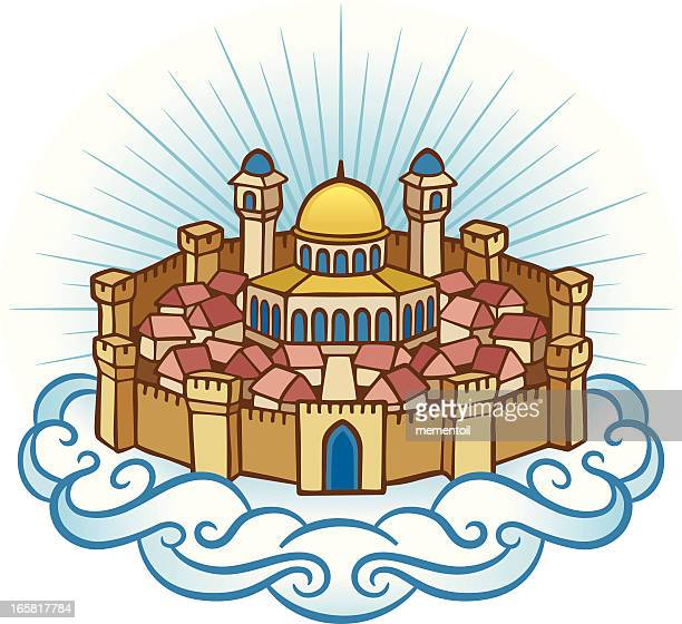 heavenly jerusalem - heaven stock illustrations