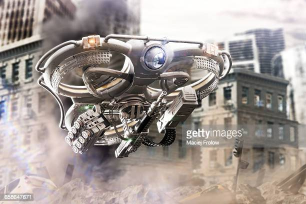 Heavy combat drone in a city