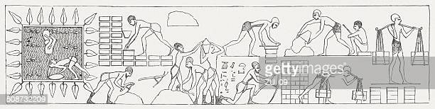 hebrews in egypt, wood engraving, published in 1877 - hebrew script stock illustrations, clip art, cartoons, & icons