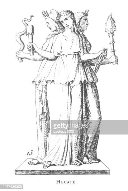 hecate, gods and mythological characters engraving antique illustration, published 1851 - classical greek style stock illustrations