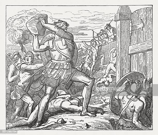 hector throw stones against the wall of the greeks - trojan war stock illustrations, clip art, cartoons, & icons
