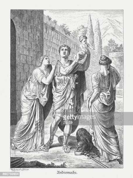 hector's farewell from andromache, greek mythology, wood engraving, published 1879 - trojan war stock illustrations, clip art, cartoons, & icons
